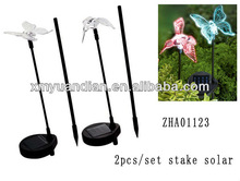 hummingbird and butterfly solar light stake