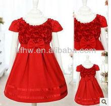 HAN NEWEST FASHION SHORT SLEEVE ROSE FLOWER GIRL'S DRESS