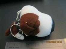 cute grey plush dog shaped keychain with sucker&chain