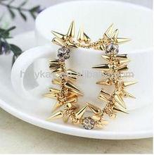 Chunky Rivet bracelet with crystal pave ball, 2013 Top fashion Punk bracelet, Super Gold jewelry