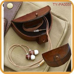 Saddle leather earphone case hard case