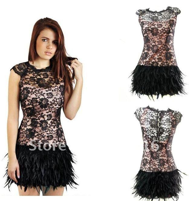 Lace feather dress black