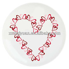 Valentine's day ceramic plate with heart shape decal printing