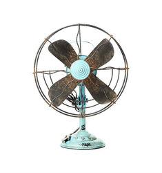"13-3/4""H Meta VIntagel Table Fan Decoration BLue"
