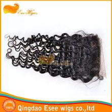 stock 100%human hair brazilian natural curl lace closure 3.5X4inch,4X4inch,5X5inch