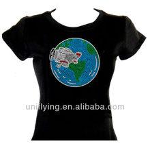 Earth design for rhinestone custom t-shirt