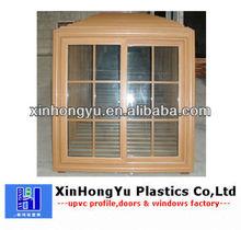 pvc beech color sliding window