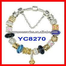 murano glass bead bracelet snake clasp chain bracelet