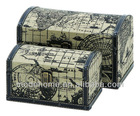 2013 New Ancient World Map Wood Canvas Round Top Storage Chest Canvas Box