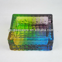 Square glass ashtray with handpainted color