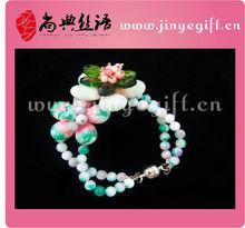Fashion Two Strand Exotic Gemstone Flower Magnetic Charms Bracelet