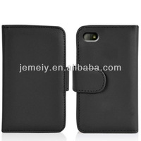 Solid color leather flip card case for BlackBerry Q10
