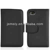 Solid color leather flip card case for BlackBerry Q10