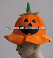 Orange velours citrouille chapeau de fête avec vert base pour Halloween