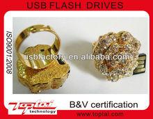 diamond jewelry golden ring shape usb flash drive 4gb 16gb