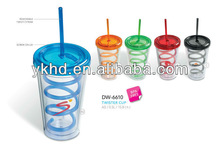 Wholesale 2013 promotion 16oz Plastic thermos straw tumbler keep water cold or hot