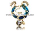 Turquise Silk cotton cord Surf/ crystal Bracelet jewellery Hippy/Boho