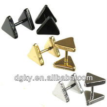 3 Sizes Triangle Tri Angle Stainless Steel Faux Fake Plug Tunnel Earring Stud(6 Color)