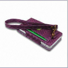 Leather Case for iPhone, Made of Special Weave Pattern PU, with Faux Suede Lining Inside