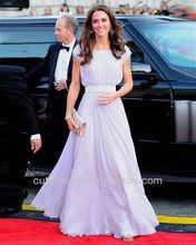 Vertical Pleats Maxi Evening Dress With Short Sleeves Chiffon Dresses