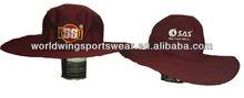 Maroon embroidered cotton twill rigid wide brim sports cricket cap hat
