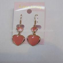 two hearts shape pink earrings stylish hanger