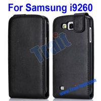 Vertical Black PU Flip Leather Case for Samsung I9260