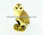 Fashion Pewter Alloy Rhinestone Hand painted Bejeweled Owl jewelry box