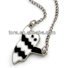 Black White Ghost Halloween Necklace