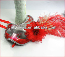 fashion red flower party city masquerade feather masks