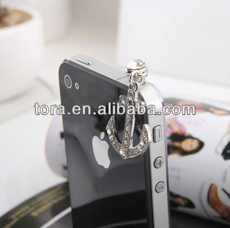 fashion crystal anchor phone ear cap