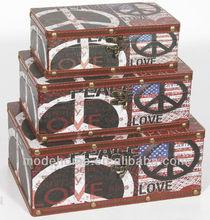 2013 Hot Sell Cheap Peace Sign Wood Canvas Storage Box Decorative Box Gift Box