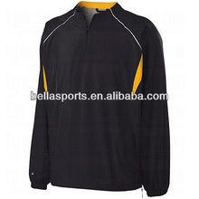 Wind jacket 100% polyester Quarter-zip pullover baseball jacket Jersey elastic cuff