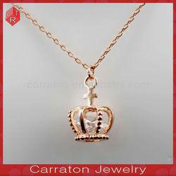 Popular European Rose Gold Diamond Crown Pendant