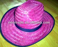 New SEXY PINK Women's Raffia Shapeable Beach Straw Ladies Western Cowboy Hat