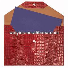 Coccodrillo goffrato pelle grande busta, rosso, regge alla cartella 9x12