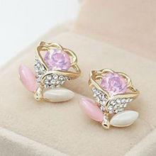pink crystal rose earrings teen girls fashion jewelry