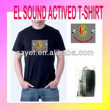 Customized sports logo design led tshirt sound sensor