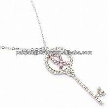 New arrival heart key chain diamond silver pendant