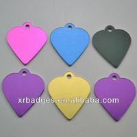 heart shape anodized aluminum name tag