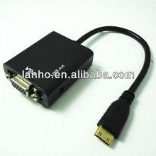Mini HDMI Male to VGA + Audio HD Video Cable Converter Adapter 1080P New
