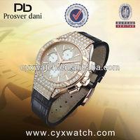 18K GOLD diamonds Swiss ETA7750 multi-functon mov't quartz men watch water proof watch