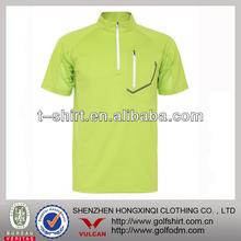 Dri fit Short sleeves Zipper stand collar mens Sports shirt quick dry
