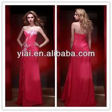 E147 Latest design Embroidered Long Chiffon Evening Dresses 2014