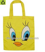 yellow kartoon cotton canvas tote bag for kids