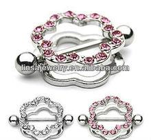 Paved gem flower body jewelry nipple ring shield
