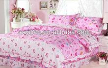 pink lovely kitty 100%cotton ruffled bedding set/linen/sheet