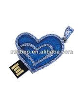 Heart to heart usb jewelry, jewelry usb heart, heart shape usb stick/pen drive with customized logo