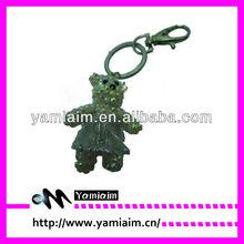 Promotional Crystal bear wear dance skirt keychain factory