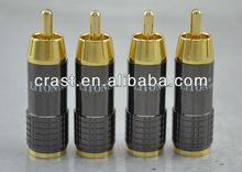 Hi-End LITON RCA Male Plug Golden Plated solder type Adapter For DIY